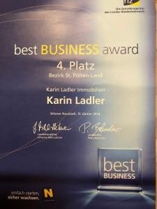 Urkunde best business award